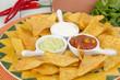 Nachos - Tortilla Chips with guacamole, salsa & sour cream dips