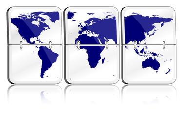 Fallblattanzeige Weltkarte gläsern / dunkelblau