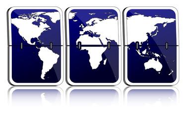 Fallblattanzeige Weltkarte dunkelblau