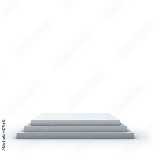 3 steps empty square podium on white