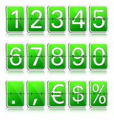 Fallblattanzeige Ziffern grün positiv