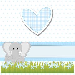 baby shower - bimbo - cuore azzurro ed elefante