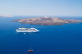 Volcano of Santorini island with ferry, Greece