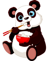 Panda eating rice