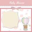 delicate baby shower card with teddy bear