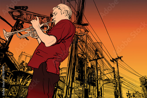Papiers peints Groupe de musique trumpeter on a cityscape background