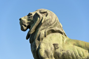 Stone lion, Retiro Park, Madrid, Spain