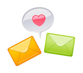 vector icon mail and heart shape