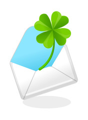 vector icon mail and clover