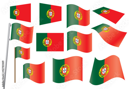 set of flags of Portugal vector illustration