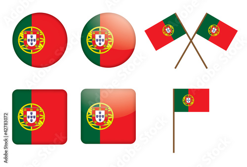 set of badges with flag of Portugal vector illustration