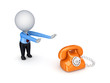 3d small person pulling hands to a telephone.