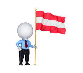 3d small person with an Austrian flag in a hand.