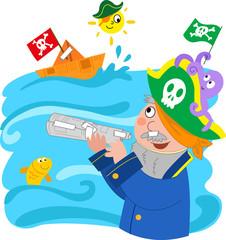 Bambino che gioca a fare il pirata, vettoriale.