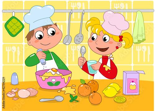 Bambini che cucinano con tanti ingredienti, vettore