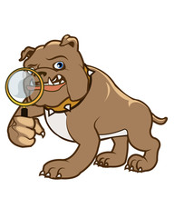 Bulldog Holding Magnifying Glasses