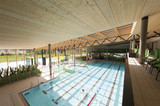 Fototapety interior view of swimming bath with pool with indoor laps
