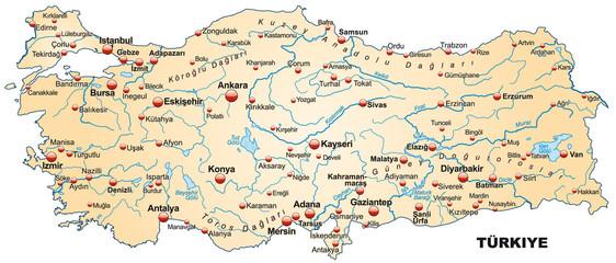 Inselkarte der Türkei mit Hauptstädten
