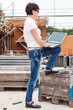Civil engineer with a laptop on site