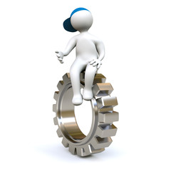 3D Man sitting on gear-wheel