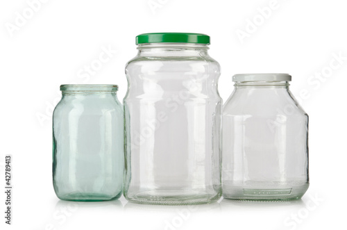 Glass empty jar isolated on white