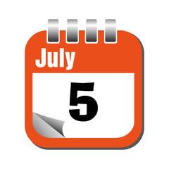 Fifth of July calendar sheet