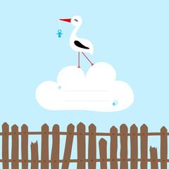 Tall Stork Blue Pacifier Speech Bubble Cloud Fence Blue