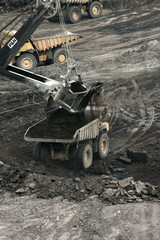 earth moving equipment in an open cast mine