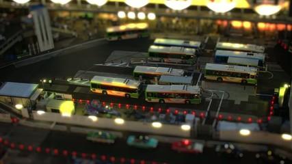 The bus terminal. 東京渋谷のバスターミナル