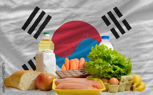 basic food groceries in front of south korea national flag