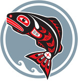 Jumping Fish - Salmon - Native American Style