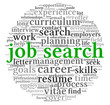 Job search concept in word tag cloud