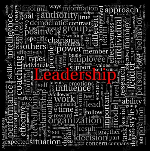 Leadership in word tag cloud on black