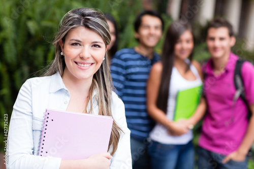 Woman with group of students