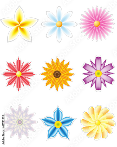 icon set of flowers for design
