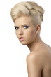 beautiful blonde woman with hair style with serious expression