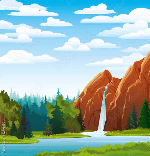 Naklejka Letni krajobraz z wodospadem, las i chmury