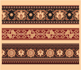 Set of Oriental Borders - Seamless Pattern