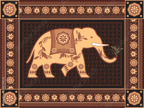 Decorated Indian Elephant In High Detailed Frame