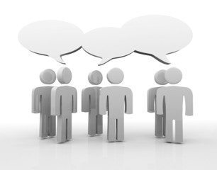 Discussion, blank speech bubbles, 3d people