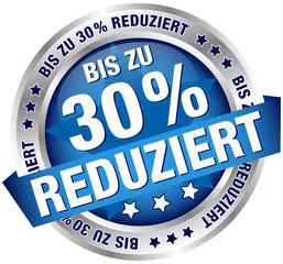 """Button Banner """"Bis zu 30% reduziert"""" blau/silber"""