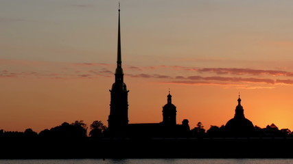 St. Petersburg. Peter and Paul Fortress Silhouette at sunset