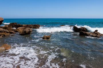 Rocky sea coast of Catalonia , Spain