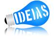 """Lâmpada com a palavras """"ideias"""""""