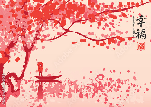 Wall mural Chinese landscape with cherry blossoms over the lake