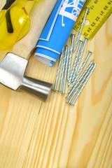 hammer nails blueprint goggles ruller