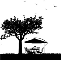 Garden furniture and parasol in garden silhouette