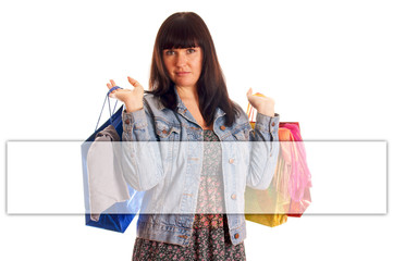 Woman with shopping bags and empty banner