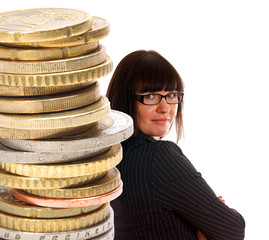 Business woman and a stack of Euro Coins