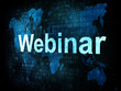 Information technology concept: pixelated words Webinar on digit